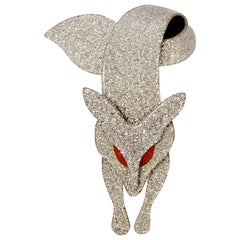 Lea Stein Silver Sparkly Fox Brooch with Red Eyes