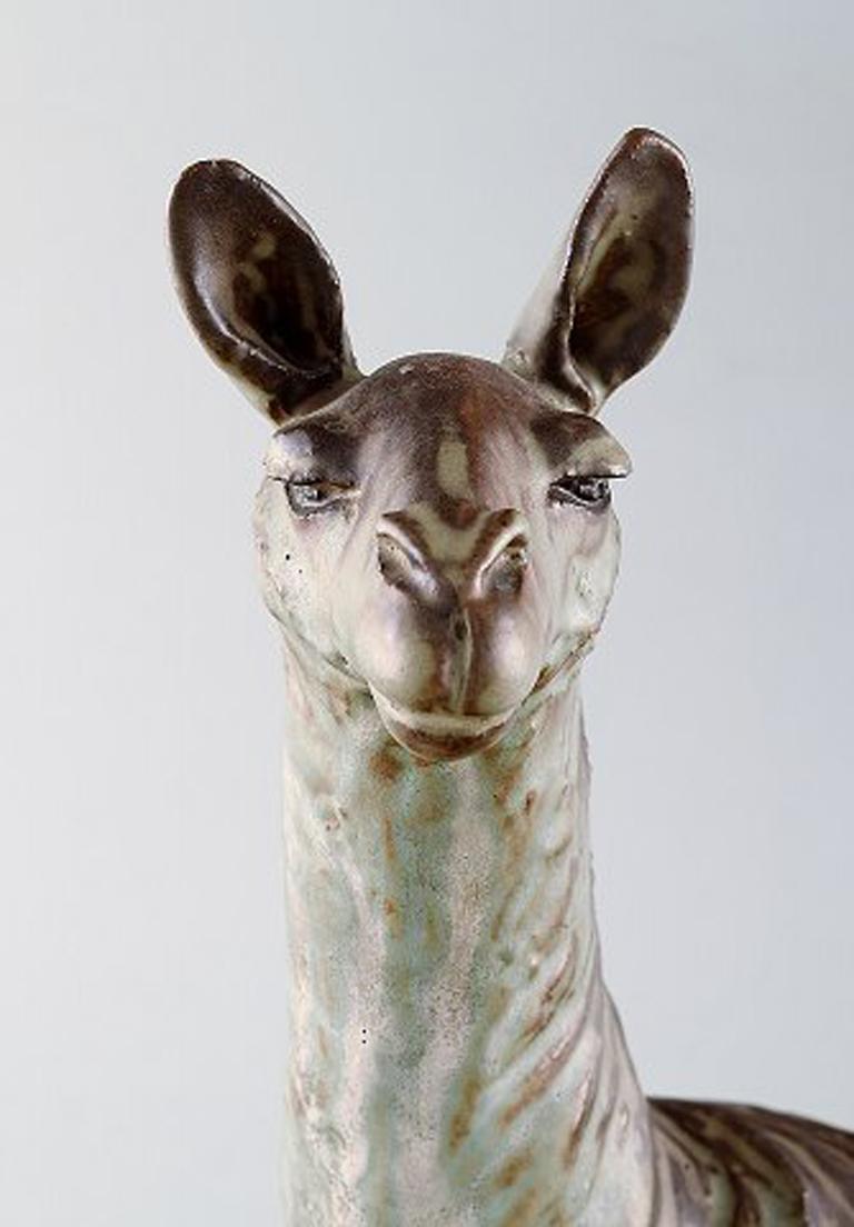 Lea Von Mickwitz '1884-1978', Arabia, Large Sculpture in Glazed Stoneware, Lama In Good Condition For Sale In Copenhagen, Denmark
