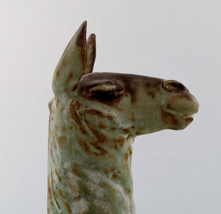 Mid-20th Century Lea Von Mickwitz '1884-1978', Arabia, Large Sculpture in Glazed Stoneware, Lama For Sale