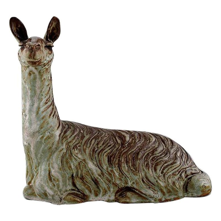 Lea Von Mickwitz '1884-1978', Arabia, Large Sculpture in Glazed Stoneware, Lama For Sale