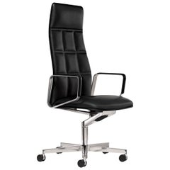Lead Executive Swivel Black Leather Armchair