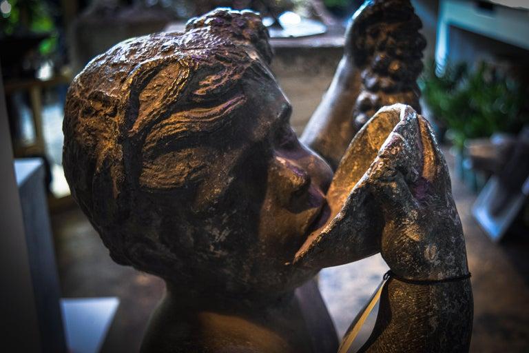 Cast Lead Putto Sculpture For Sale