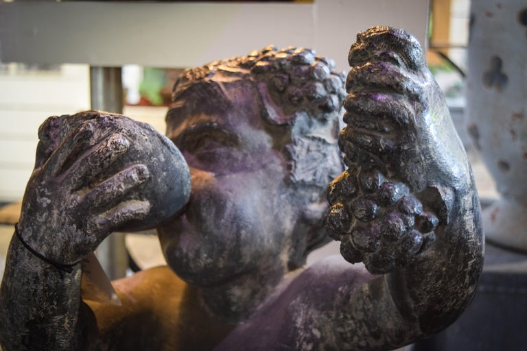 Lead Putto Sculpture In Good Condition For Sale In Bloomfield Hills, MI