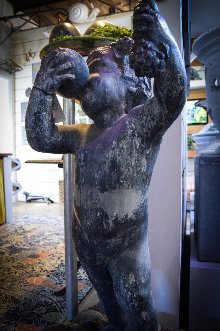 20th Century Lead Putto Sculpture For Sale
