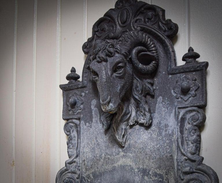 Cast Lead Rams Head Fountain For Sale