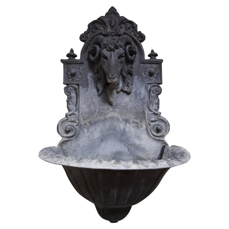 Lead Rams Head Fountain For Sale