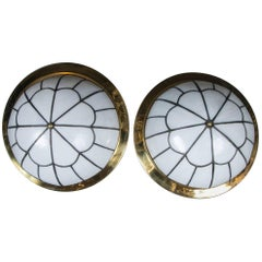 Leaded Glass Flush Mounted Light Fixtures with Interior Lights