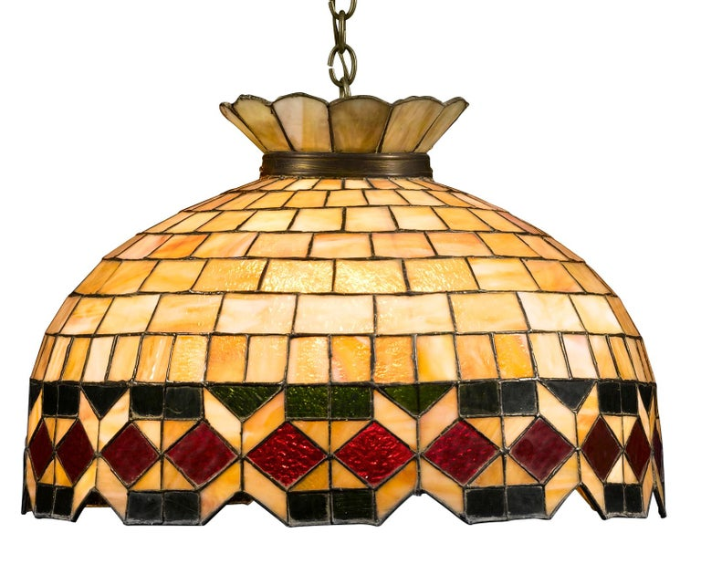 Other Leaded Glass Hanging Light For Sale