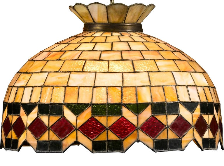 North American Leaded Glass Hanging Light For Sale