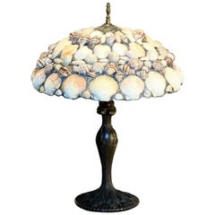 Leaded Seashell Lamp Art Nouveau Metal Base and Detailed Mosaic Shell Shade