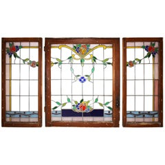 Leaded Stained Glass Windows, Set of Three, circa 1880