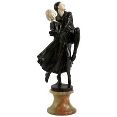 """Leading Pierrot"" a Rare Art Deco French Bronze Sculpture by Peter Tereszczuk"