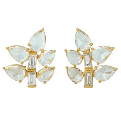 Leaf 18 Karat Gold Diamond Stud Earrings