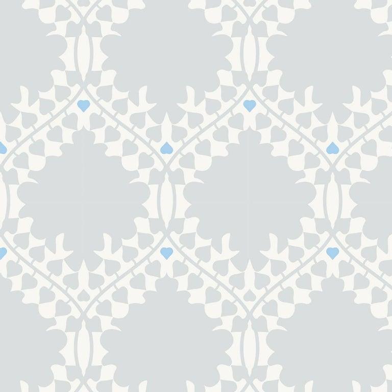 Modern Leaf Damask Designer Wallpaper in Snow 'Grey, Blue and Soft White' For Sale