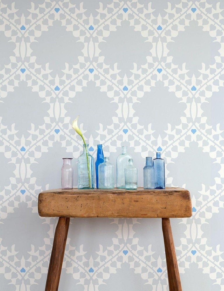 American Leaf Damask Designer Wallpaper in Snow 'Grey, Blue and Soft White' For Sale