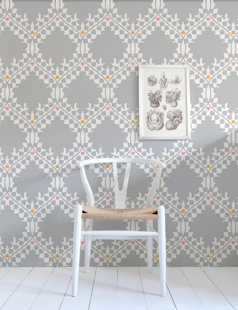 American Leaf Damask Designer Wallpaper in Classic 'Grey, Pink, Orange and Soft White' For Sale