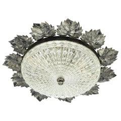 Sunburst Leaf Design Ceiling Light Fixture in Patinated Iron & Pressed Glass