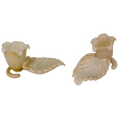 Leaf Form Murano Glass Candleholders in White with Gold Art Glass