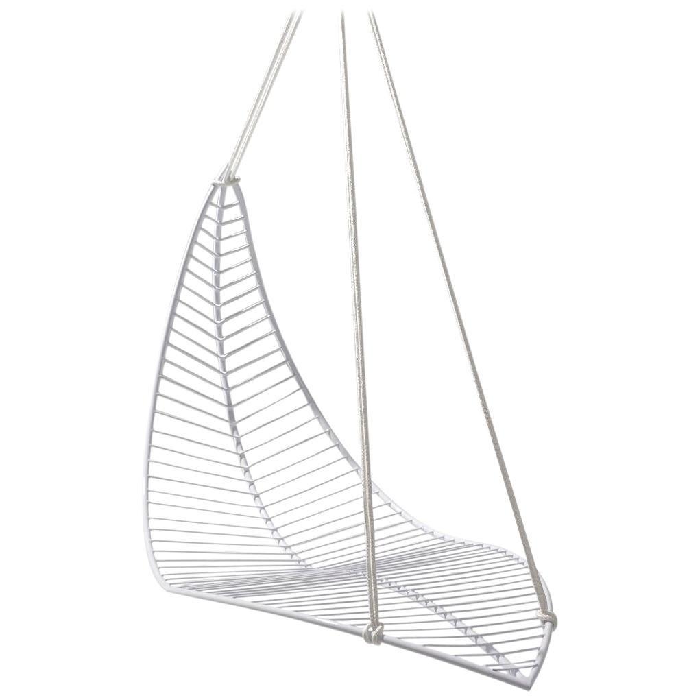 Leaf Hanging Swing Chair Modern Steel In/Outdoor White
