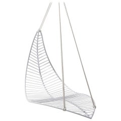 Leaf Hanging Swing Chair Modern Steel In/Outdoor White