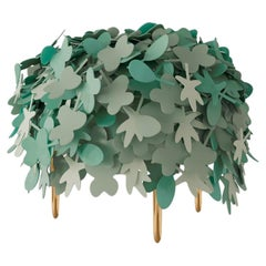 Leaf Pouf with Rich Green Leather and Brass Legs by Marcantonio