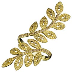 JAG New York Yellow Diamond Leaf Ring in 18K Yellow Gold