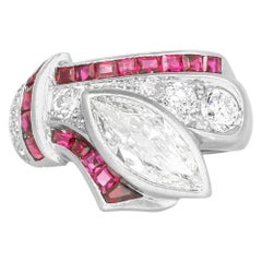 Marquise Diamond Ribbon Style Ring with Rubies