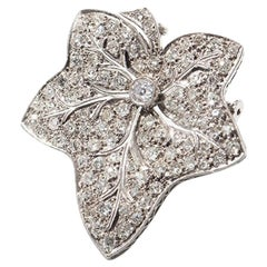 Leaf-Shaped Diamond Platinum Brooch/Pendant