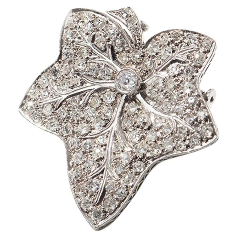 Leaf-Shaped Diamond Platinum Brooch/Pendant For Sale