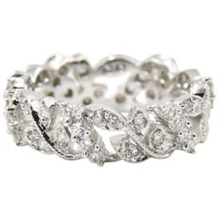 Leaf Vine Diamond Eternity Band White Gold Ring
