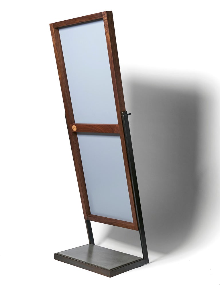 Lean Full Standing Mirror by CAUV Design Steel Concrete Black Walnut In New Condition For Sale In Brooklyn, NY