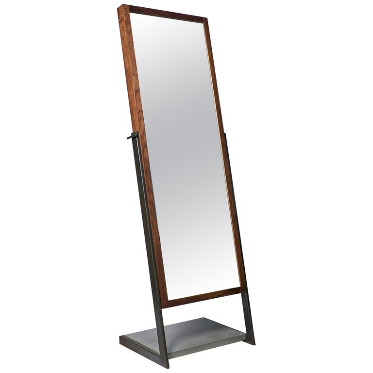 Lean Full Standing Mirror by CAUV Design Steel Concrete Black Walnut For Sale