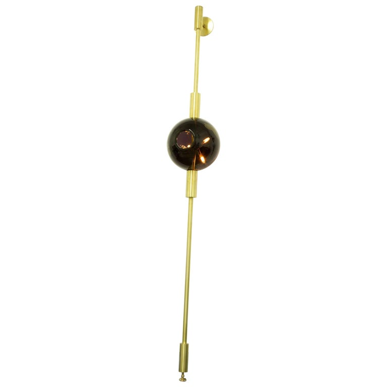 Lean Light, Black & Gold Leaf Glass with Brushed Brass Finish, Wall/Floor Light For Sale