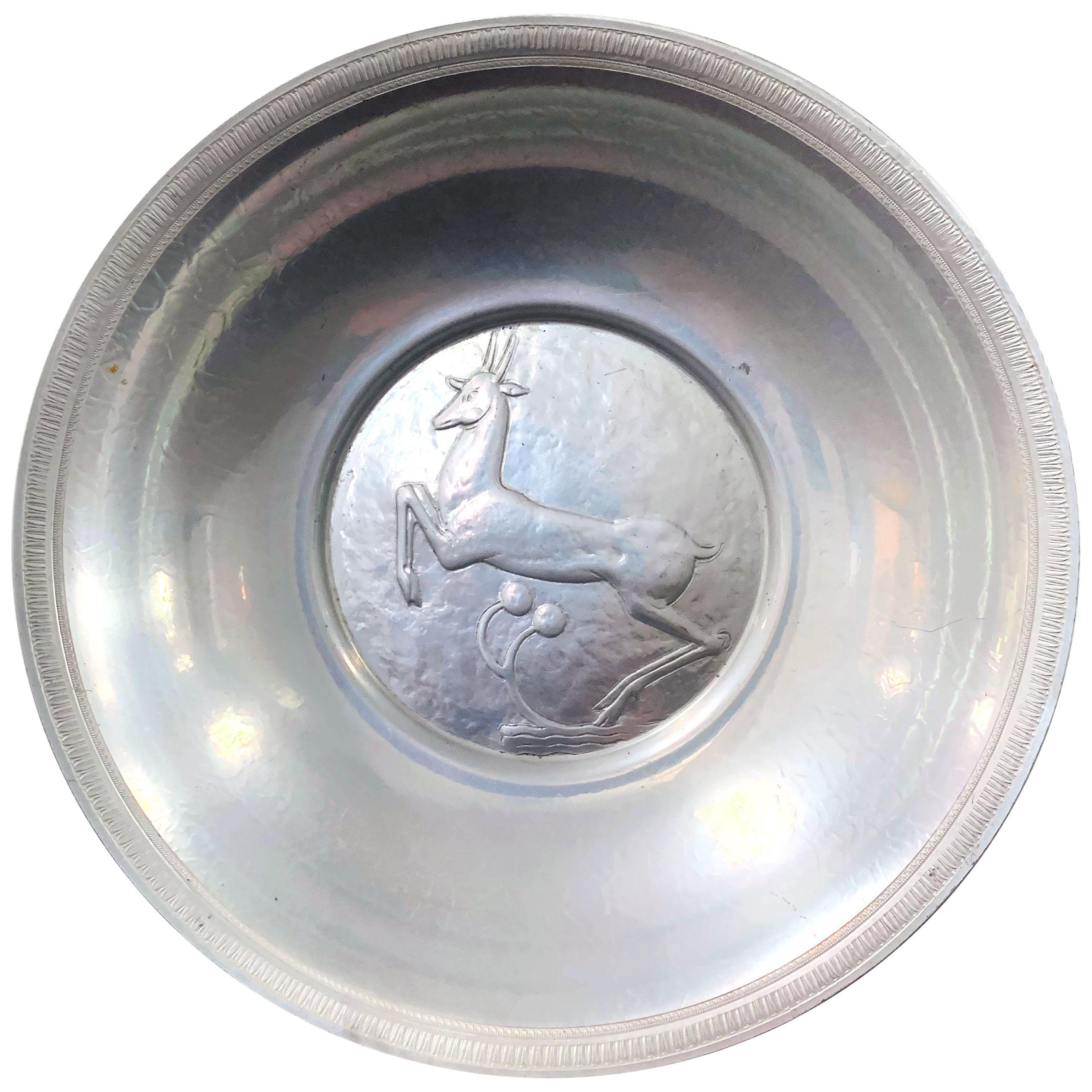 """""""Leaping Stag Bowl,"""" Rare Art Deco Bowl with Sculptural Relief by Oscar Bach"""