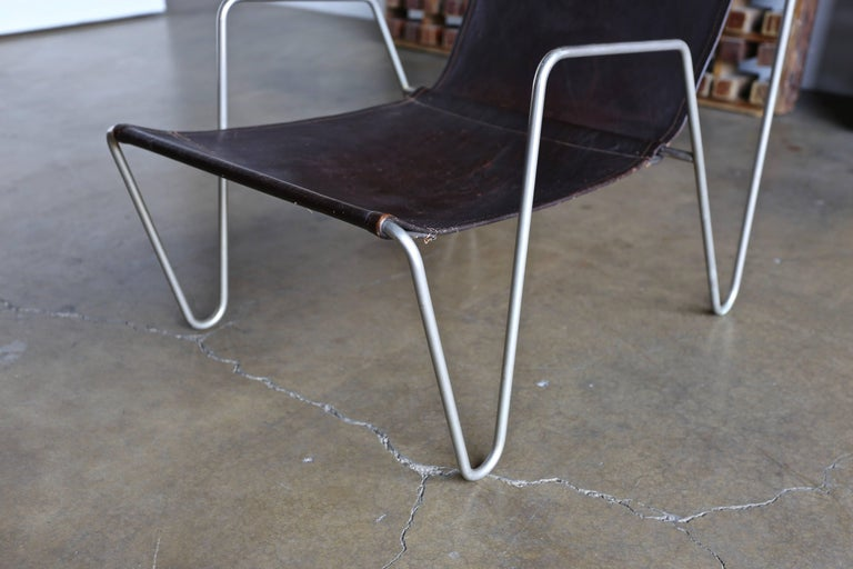 Danish Leather 'Bachelor' Chair by Verner Panton for Fritz Hansen For Sale