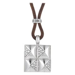 Leather 18 Karat White Gold Diamond Pendant Necklace