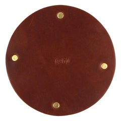 Leather and Brass Coaster Set (Set of 6) Brown