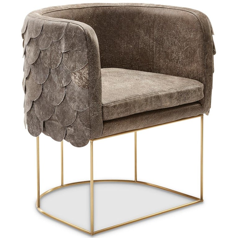 Modern Leather and Brass Contemporary Falcon Tub Chair by Egg Designs For Sale