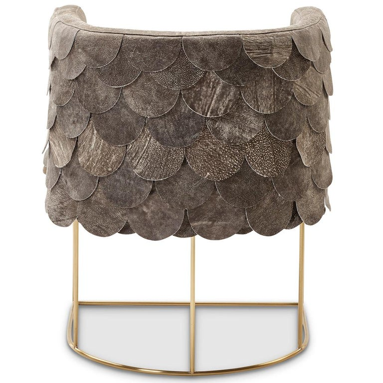 South African Leather and Brass Contemporary Falcon Tub Chair by Egg Designs For Sale
