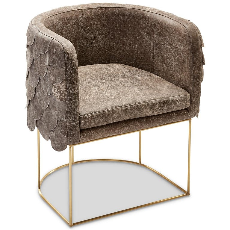 Leather and Brass Contemporary Falcon Tub Chair by Egg Designs For Sale 1