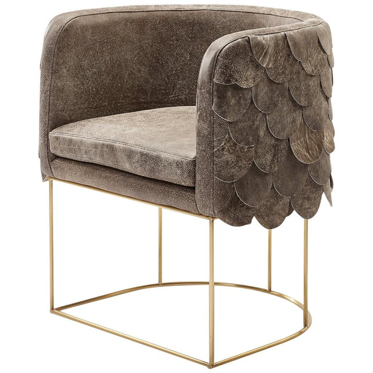 Leather and Brass Contemporary Falcon Tub Chair by Egg Designs For Sale