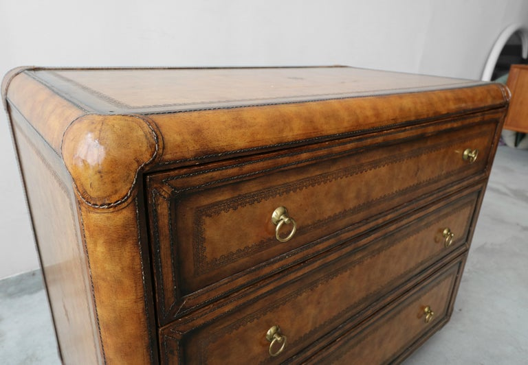 Leather and Brass Dresser Chest by Maitland-Smith 1