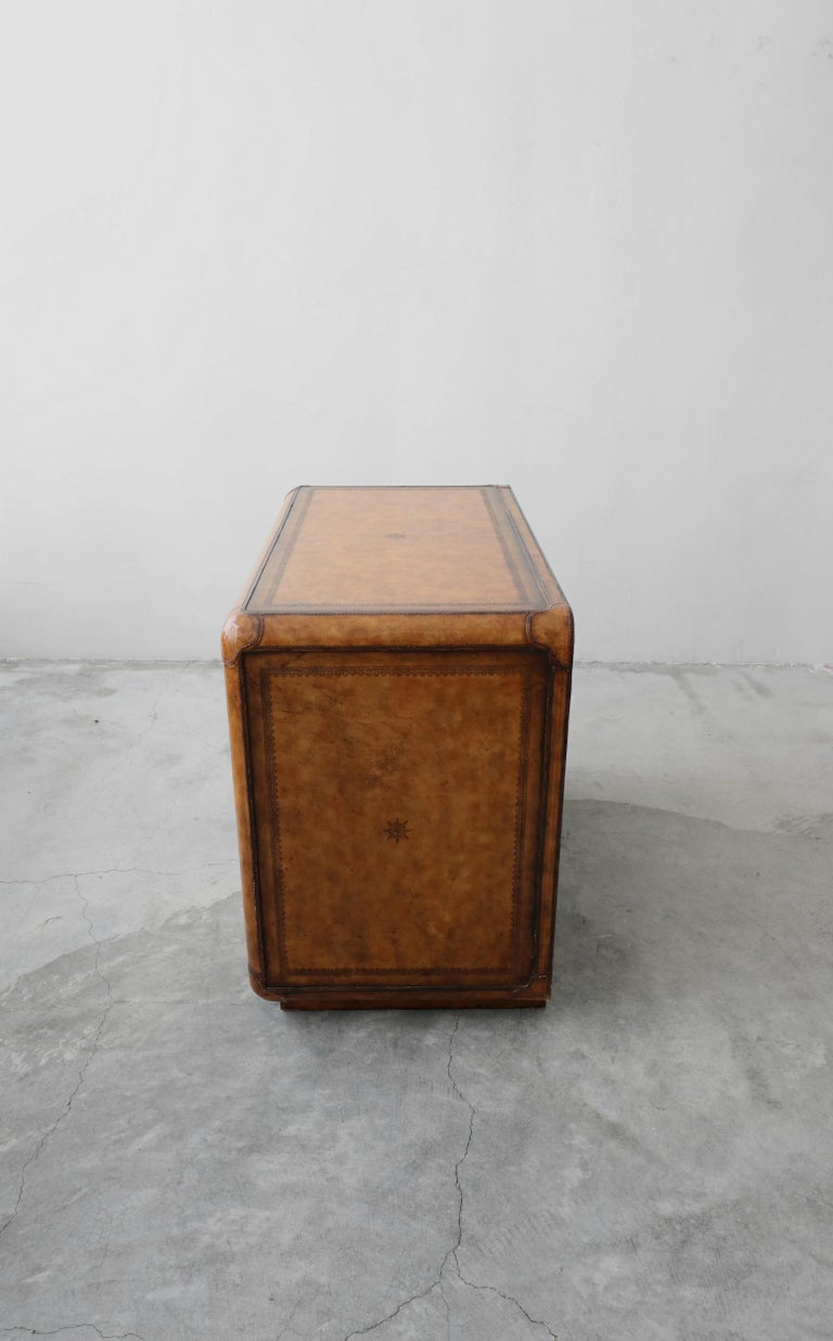 Leather and Brass Dresser Chest by Maitland-Smith 2