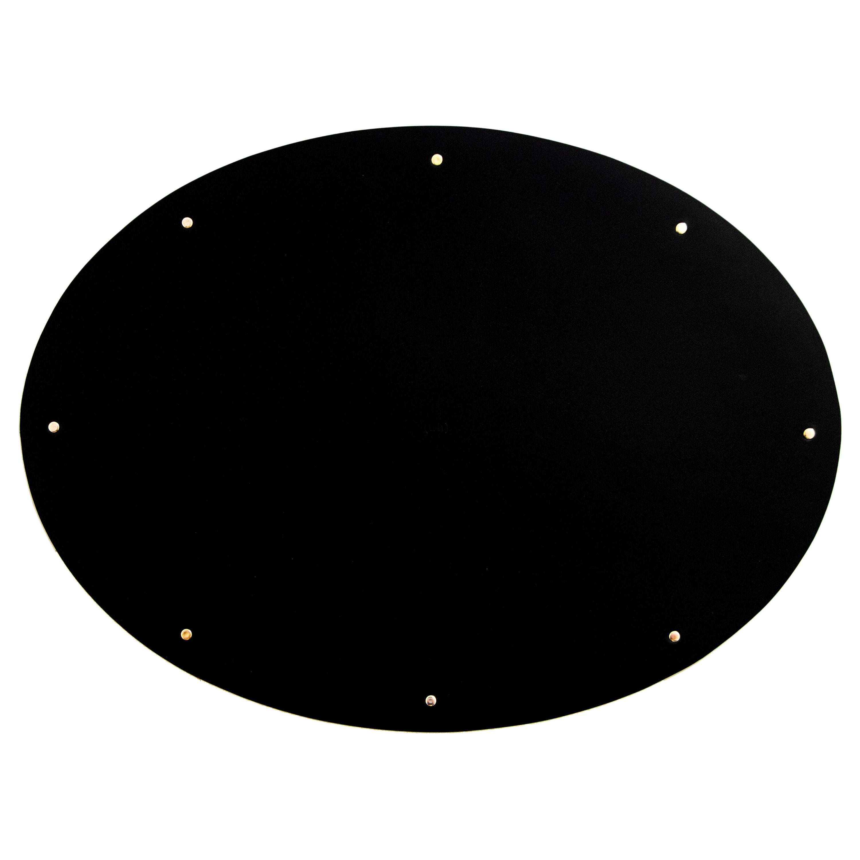 Leather and Brass Placemat Set (Set of 4) Black