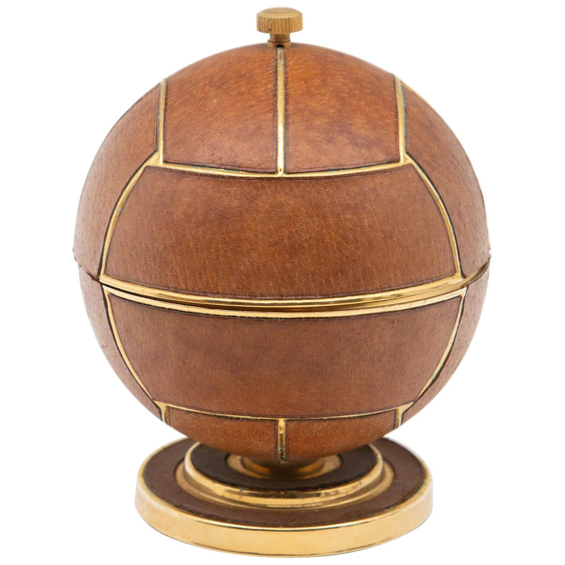 Leather and Brass Sports Ball Expandable Midcentury Cigarette Holder