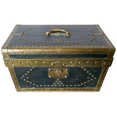 Leather and Brass Studded Treasure Chest or Jewellery Box 1878