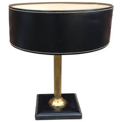 Leather and Brass Table Lamp Attributed to Adnet, circa 1950