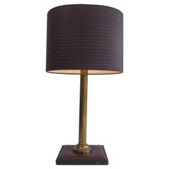 Leather and Brass Table Lamp, French, circa 1970