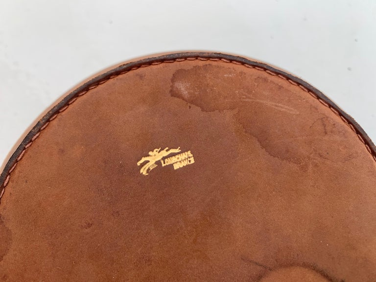 Leather and Ceramic Ashtray by Longchamps For Sale 3