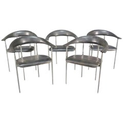 Leather and Chrome Chairs